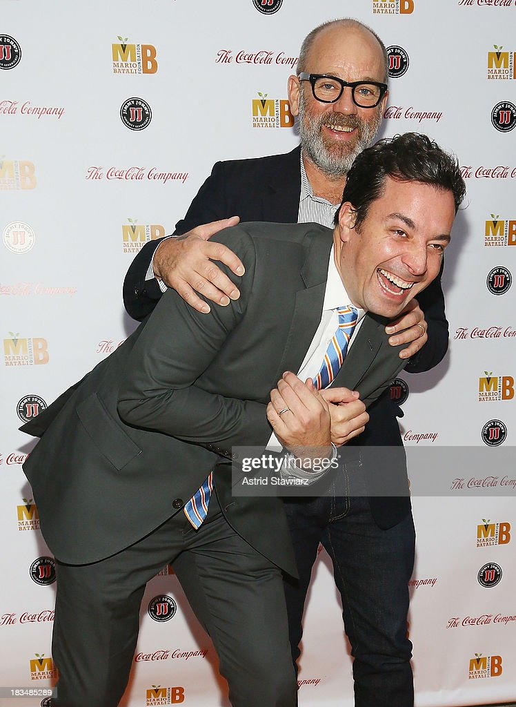 Jimmy Fallon and <a gi-track='captionPersonalityLinkClicked' href=/galleries/search?phrase=Michael+Stipe&family=editorial&specificpeople=178318 ng-click='$event.stopPropagation()'>Michael Stipe</a> attend 2nd Annual Mario Batali Foundation Honors Dinner at Del Posto Ristorante on October 6, 2013 in New York City.