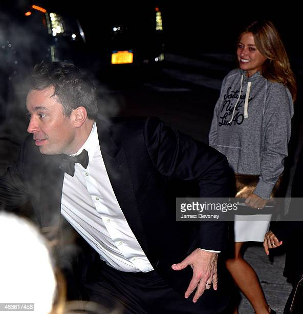 Jimmy Fallon and Nancy Juvonen arrive to Saturday Night Live 40th Anniversary Celebration after party at The Plaza Hotel on February 15 2015 in New...
