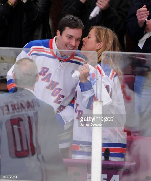 Jimmy Fallon and Nancy Juvonen attend the Washington Capitals vs New York Rangers game at Madison Square Garden on April 22 2009 in New York City