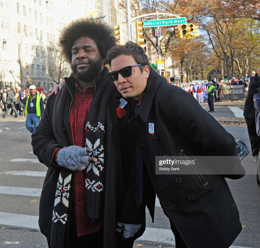 Jimmy Fallon and <a gi-track='captionPersonalityLinkClicked' href=/galleries/search?phrase=Questlove&family=editorial&specificpeople=537550 ng-click='$event.stopPropagation()'>Questlove</a> of The Roots attends the 86th Annual Macy's Thanksgiving Day Parade on November 22, 2012 in New York City.