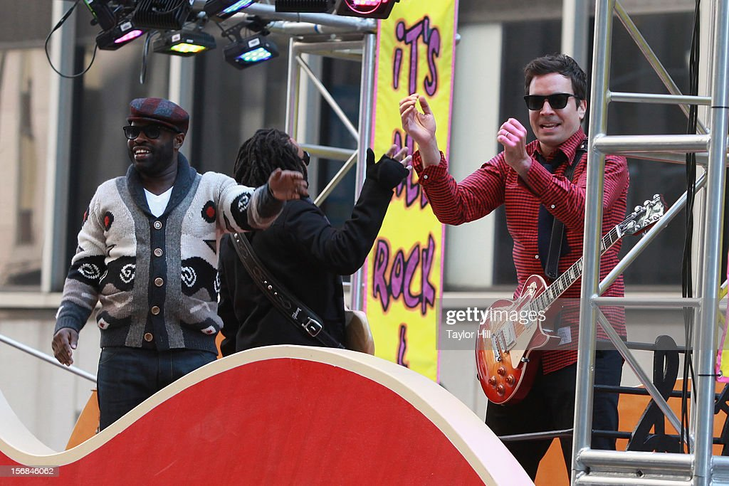 Jimmy Fallon and The Roots attend the 86th Annual Macy's Thanksgiving Day Parade on November 22, 2012 in New York City.