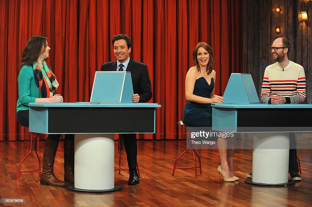 Jimmy Fallon and <a gi-track='captionPersonalityLinkClicked' href=/galleries/search?phrase=Tina+Fey&family=editorial&specificpeople=206753 ng-click='$event.stopPropagation()'>Tina Fey</a> during a taping of 'Late Night With Jimmy Fallon'>> at Rockefeller Center on February 28, 2013 in New York City.