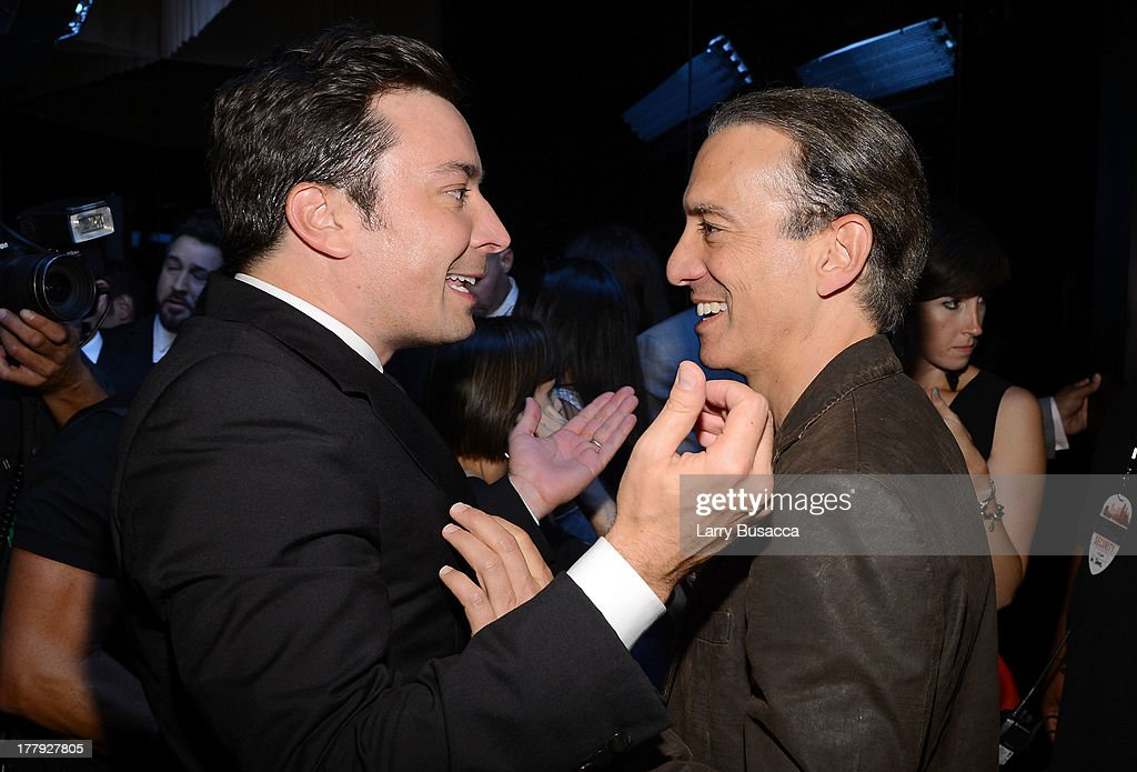 Jimmy Fallon and Viacom President of Music and Logo Group <a gi-track='captionPersonalityLinkClicked' href=/galleries/search?phrase=Van+Toffler&family=editorial&specificpeople=595753 ng-click='$event.stopPropagation()'>Van Toffler</a> attend the 2013 MTV Video Music Awards at the Barclays Center on August 25, 2013 in the Brooklyn borough of New York City.
