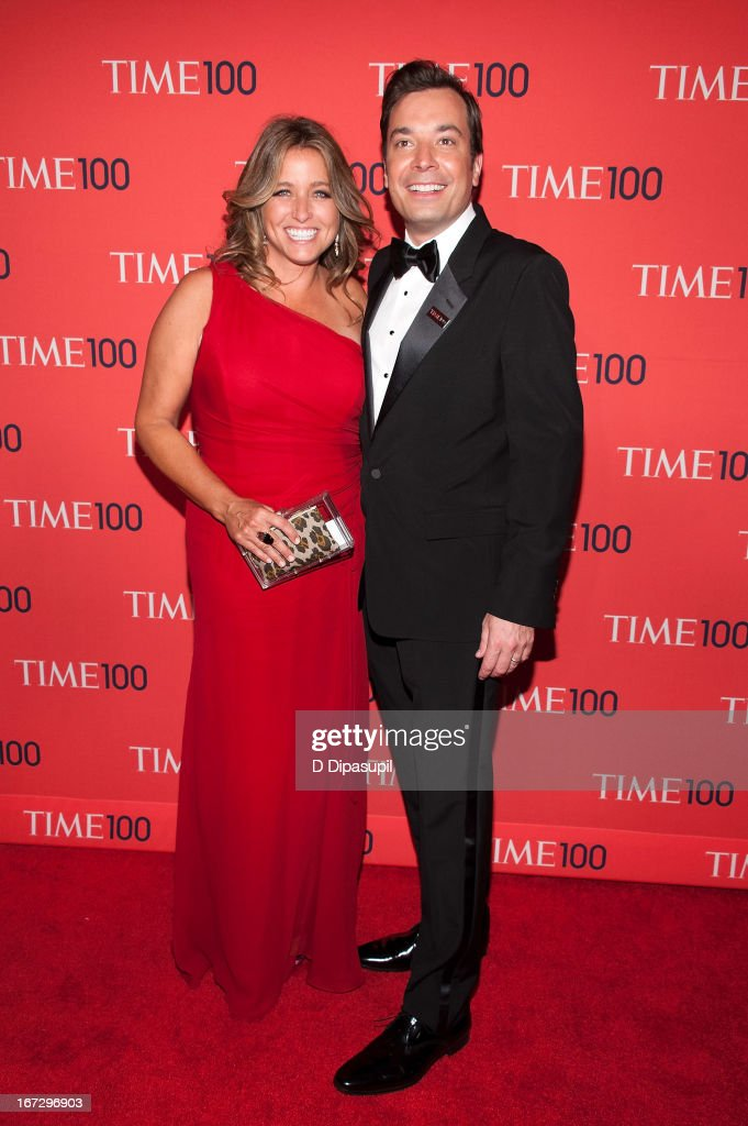 Jimmy Fallon (R) and wife <a gi-track='captionPersonalityLinkClicked' href=/galleries/search?phrase=Nancy+Juvonen&family=editorial&specificpeople=2091202 ng-click='$event.stopPropagation()'>Nancy Juvonen</a> attend the 2013 Time 100 Gala at Frederick P. Rose Hall, Jazz at Lincoln Center on April 23, 2013 in New York City.