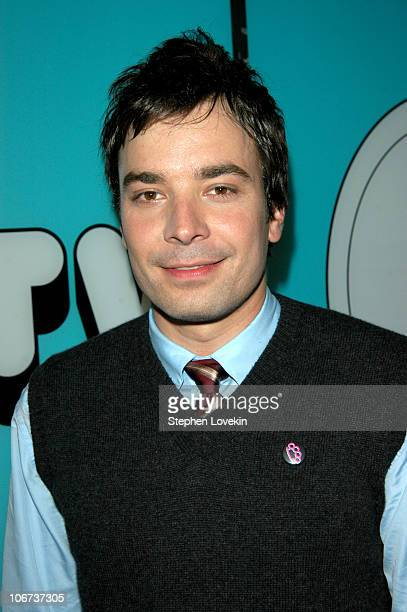 Jimmy Fallon during Jimmy Fallon Queen Latifah and Good Charlotte Visit MTV's 'TRL' October 4 2004 at MTV Studios in New York City New York United...