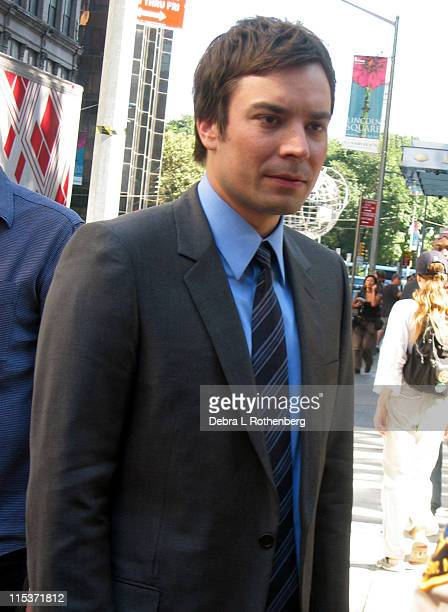 Jimmy Fallon during Queen Latifah and Jimmy Fallon Sighting in New York City September 26 2004 at Columbus Circle in New York City New York United...