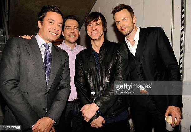 Jimmy Fallon Ed Helms Jim Carrey and Joe McHale backstage at the Airtime Launch Press Conference at Milk Studios on June 5th 2012 in New York City
