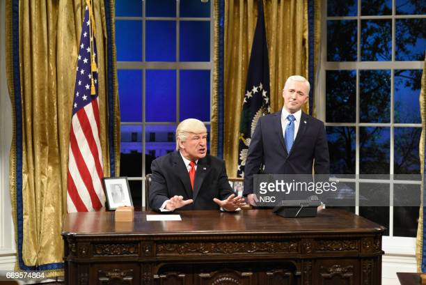 LIVE 'Jimmy Fallon' Episode 1722 Pictured Alec Baldwin as President Donald Trump and Beck Bennett as Vice President Mike Pence during the 'Trump Cold...