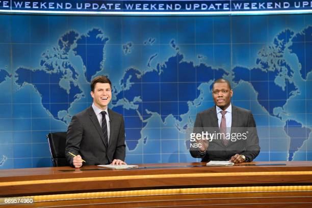 LIVE 'Jimmy Fallon' Episode 1722 Pictured Colin Jost and Michael Che during 'Weekend Update' on April 15 2017