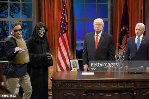 LIVE 'Jimmy Fallon' Episode 1722 Pictured Jimmy Fallon as Jared Kushner Grim Reaper as Steve Bannon Alec Baldwin as President Donald Trump and Beck...