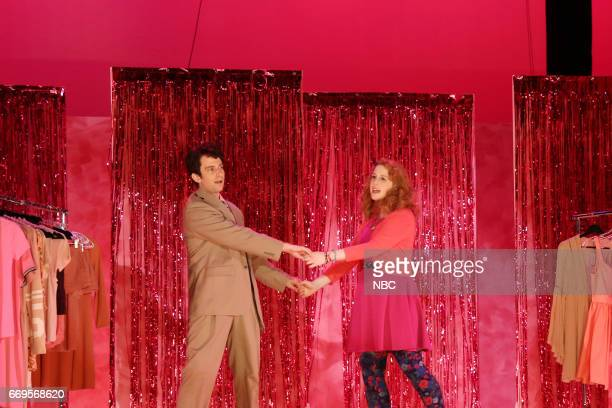 LIVE 'Jimmy Fallon' Episode 1722 Pictured Kyle Mooney and Vanessa Bayer during 'Before The Show' sketch on April 15 2017