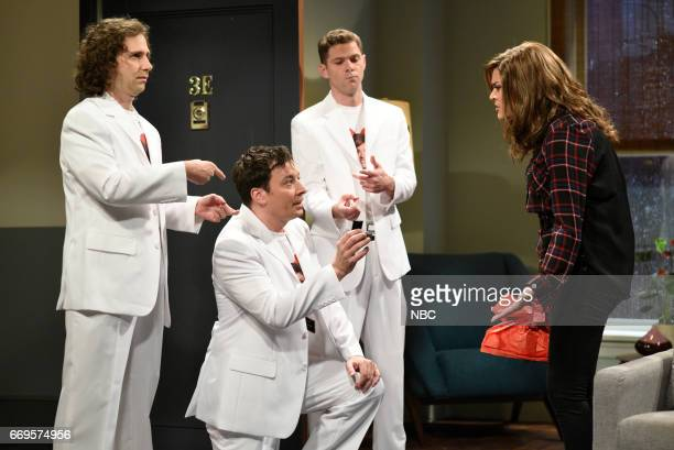 LIVE 'Jimmy Fallon' Episode 1722 Pictured Kyle Mooney as a singer Jimmy Fallon as Doug Mikey Day as a singer Cecily Strong as Jen during 'Take Me...