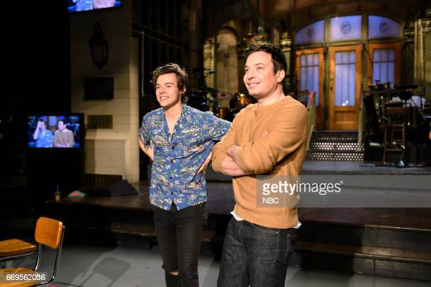 LIVE 'Jimmy Fallon' Episode 1722 Pictured Musical guest Harry Styles poses with host Jimmy Fallon in Studio 8H on April 13 2017