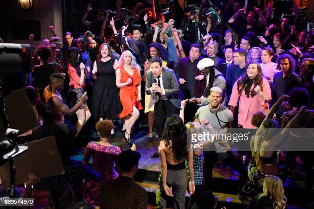 LIVE 'Jimmy Fallon' Episode 1722 Pictured Vanessa Bayer Kate McKinnon Sasheer Zamata host Jimmy Fallon Bobby Moynihan Nile Rodgers Mike Day and Aidy...