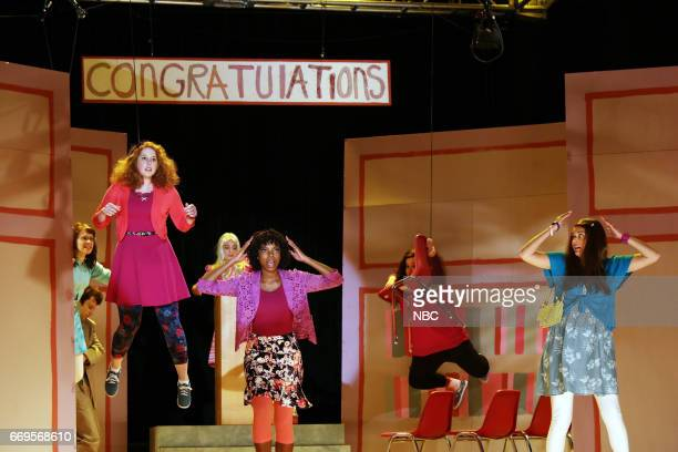 LIVE 'Jimmy Fallon' Episode 1722 Pictured Vanessa Bayer Sasheer Zamata Cecily Strong during 'Before The Show' sketch on April 15 2017
