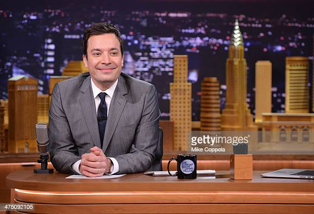 Jimmy Fallon hosts 'The Tonight Show Starring Jimmy Fallon' at Rockefeller Center on February 26 2014 in New York City