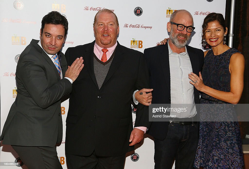 Jimmy Fallon, <a gi-track='captionPersonalityLinkClicked' href=/galleries/search?phrase=Mario+Batali&family=editorial&specificpeople=669889 ng-click='$event.stopPropagation()'>Mario Batali</a>, <a gi-track='captionPersonalityLinkClicked' href=/galleries/search?phrase=Michael+Stipe&family=editorial&specificpeople=178318 ng-click='$event.stopPropagation()'>Michael Stipe</a> and <a gi-track='captionPersonalityLinkClicked' href=/galleries/search?phrase=Jill+Hennessy&family=editorial&specificpeople=210636 ng-click='$event.stopPropagation()'>Jill Hennessy</a> attend 2nd Annual <a gi-track='captionPersonalityLinkClicked' href=/galleries/search?phrase=Mario+Batali&family=editorial&specificpeople=669889 ng-click='$event.stopPropagation()'>Mario Batali</a> Foundation Honors Dinner at Del Posto Ristorante on October 6, 2013 in New York City.