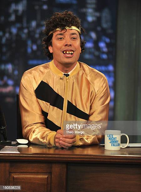 Jimmy Fallon performs a skit during a taping of 'Late Night With Jimmy Fallon' at Rockefeller Center on August 20 2012 in New York City