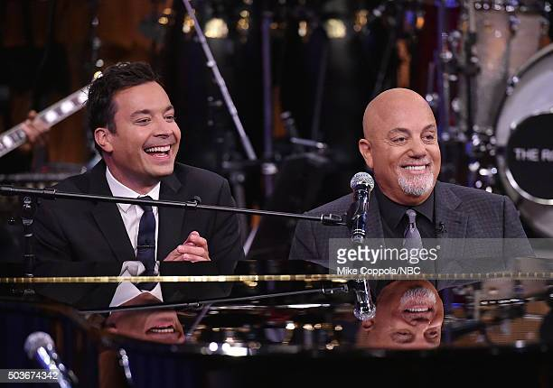 Jimmy Fallon performs with musician Billy Joel as Billy Joel Visits 'The Tonight Show Starring Jimmy Fallon' at Rockefeller Center on January 6 2016...