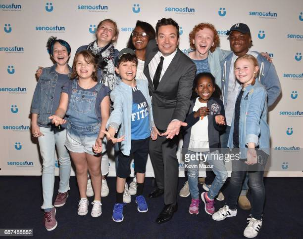 Jimmy Fallon poses with SeriousFun Campers at the SeriousFun Children's Network Gala at Pier 60 on May 23 2017 in New York City