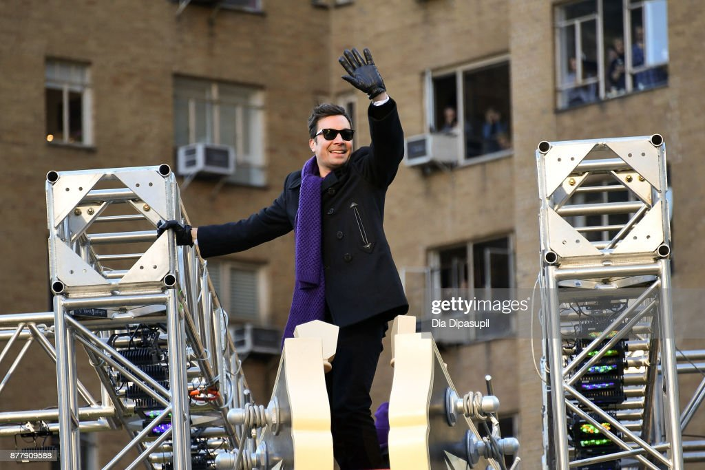 Jimmy Fallon rides in the 91st Annual Macy's Thanksgiving Day Parade on November 23, 2017 in New York City.
