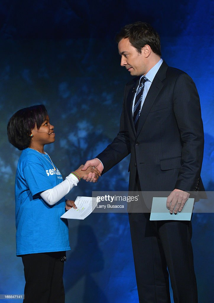Jimmy Fallon speaks onstage with camper during SeriousFun Children's Network event honoring Liz Robbins with celebrity guests at Pier Sixty at Chelsea Piers on April 4, 2013 in New York City.