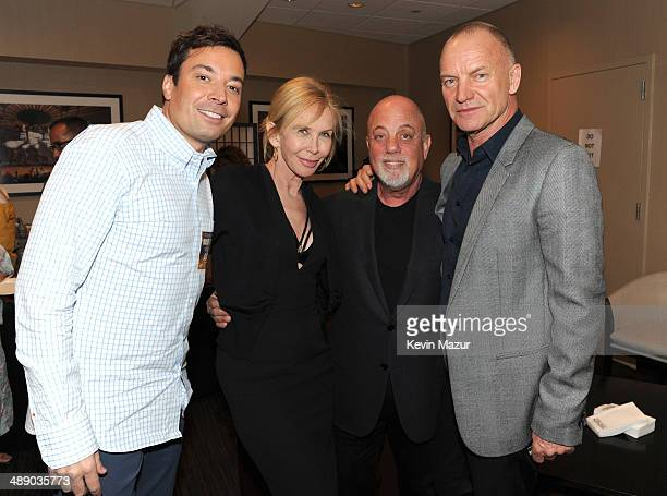 Jimmy Fallon Trudie Styler Billy Joel and Sting backstage at Madison Square Garden on May 9 2014 in New York City