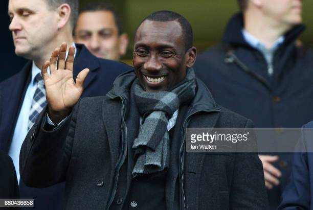 Jimmy Floyd Hasselbaink former Chelsea player watches on from the stands during the Premier League match between Chelsea and Middlesbrough at...