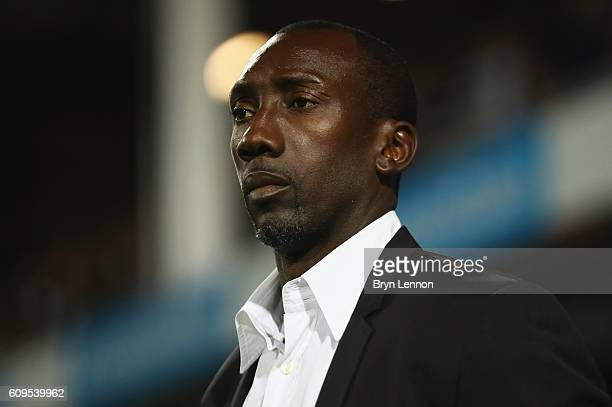 Jimmy Floyd Hasselbaink manager of QPR looks on during the EFL Cup Third Round match between Queens Park Rangers and Sunderland at Loftus Road on...