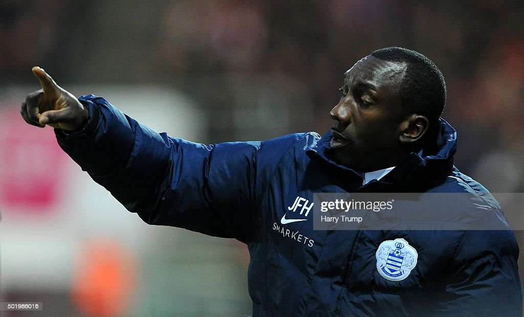 Jimmy Floyd Hasselbaink, Manager of Queens Park Rangers during the Sky Bet Championship match between Bristol City and Queens Park Rangers at Ashton Gate on December 19, 2015 in Bristol, England.