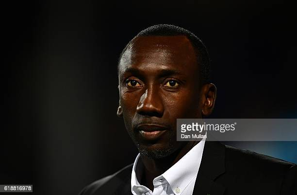 Jimmy Floyd Hasselbaink Manager of Queens Park Rangers looks on prior to the Sky Bet Championship match between Queens Park Rangers and Brentford at...