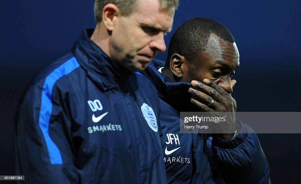 Jimmy Floyd Hasselbaink, Manager of Queens Park Rangers (R) reacts during the Sky Bet Championship match between Bristol City and Queens Park Rangers at Ashton Gate on December 19, 2015 in Bristol, England.