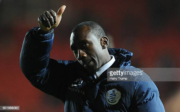 Jimmy Floyd Hasselbaink Manager of Queens Park Rangers salutes the travelling fans during the Sky Bet Championship match between Bristol City and...