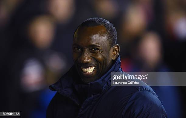 Jimmy Floyd Hasselbaink of Queens Park Rangers looks on during the Sky Bet Championship match between Nottingham Forest and Queens Park Rangers on...