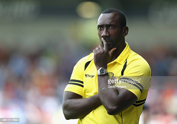 Jimmy Floyd Hasselbaink the Burton Albion manager looks on during the pre season friendly match between Burton Albion and Wolverhampton Wanderers at...