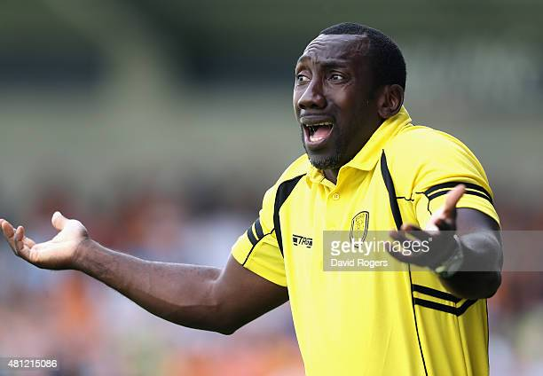 Jimmy Floyd Hasselbaink the Burton Albion manager shouts instructions during the pre season friendly match between Burton Albion and Wolverhampton...