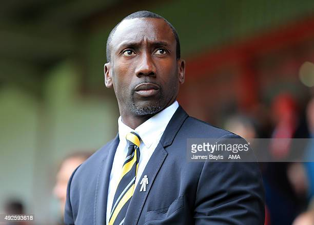 Jimmy Floyd Hasselbaink the head coach / manager of Burton Albion during the Sky Bet League One match between Walsall and Burton Albion at Bescot...