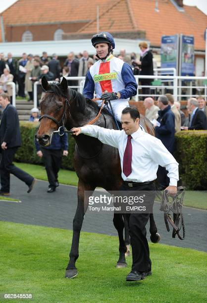 Jimmy Fortune on Pampas Cat after winning the Federation Of Bloodstock Agents Maiden Stakes