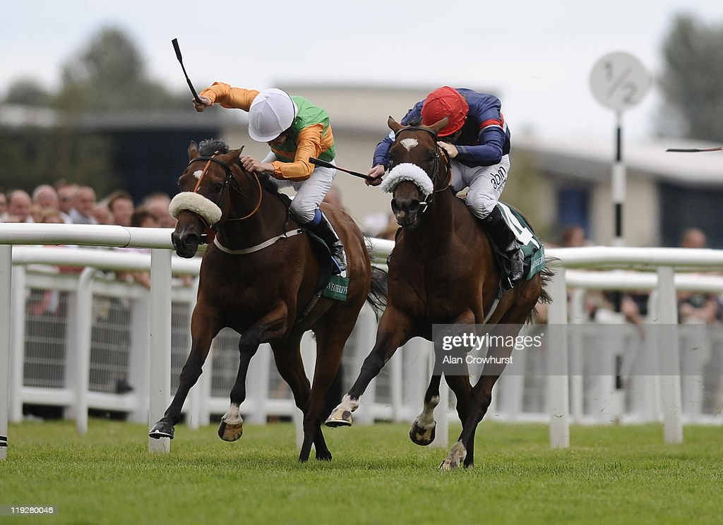 <a gi-track='captionPersonalityLinkClicked' href=/galleries/search?phrase=Jimmy+Fortune&family=editorial&specificpeople=167162 ng-click='$event.stopPropagation()'>Jimmy Fortune</a> riding Charles The Great (R) win The Weatherbys Super Sprint at Newbury racecourse on July 16, 2011 in Newbury, England