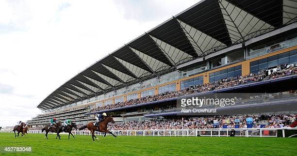 Jimmy Fortune riding Growl win The Anders Foundation EBF Stallions Crocker Bulteel Maiden Stakes at Ascot racecourse on July 27 2014 in Ascot England