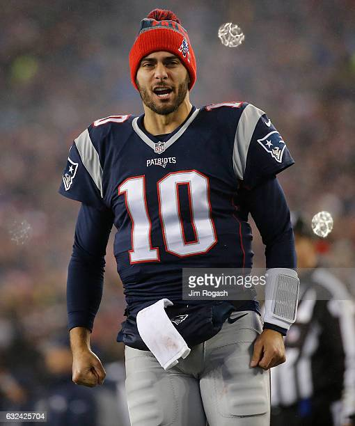 Jimmy Garoppolo of the New England Patriots come out on to the field prior to the AFC Championship Game against the Pittsburgh Steelers at Gillette...