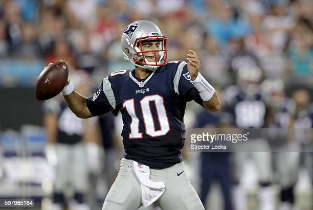 Jimmy Garoppolo of the New England Patriots during their game at Bank of America Stadium on August 26 2016 in Charlotte North Carolina