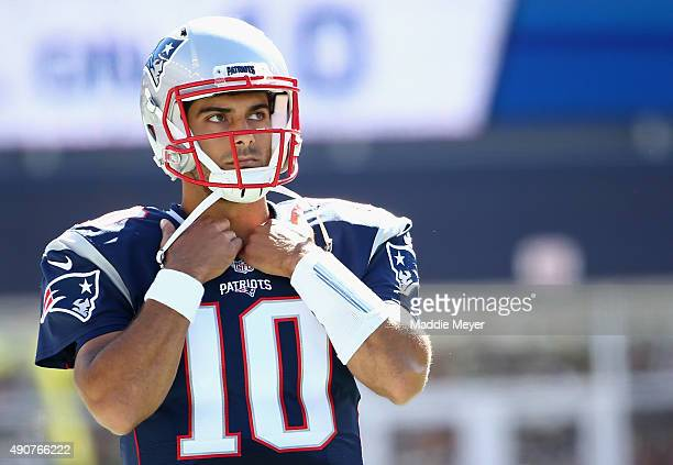 Jimmy Garoppolo of the New England Patriots looks on during the game against the Jacksonville Jaguars at Gillette Stadium on September 27 2015 in...
