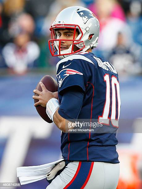 Jimmy Garoppolo of the New England Patriots looks to pass the ball during the third quarter against the Buffalo Bills at Gillette Stadium on December...