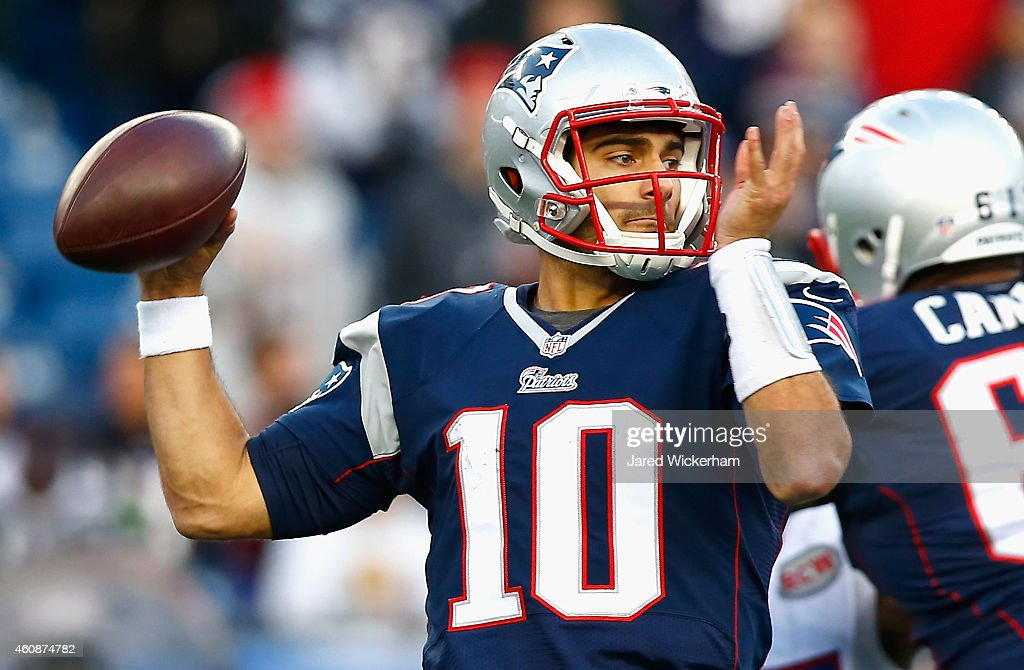 <a gi-track='captionPersonalityLinkClicked' href=/galleries/search?phrase=Jimmy+Garoppolo&family=editorial&specificpeople=12185713 ng-click='$event.stopPropagation()'>Jimmy Garoppolo</a> #10 of the New England Patriots passes the ball during the fourth quarter against the Buffalo Bills at Gillette Stadium on December 28, 2014 in Foxboro, Massachusetts.
