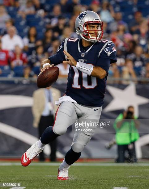 Jimmy Garoppolo of the New England Patriots prepares throw against the Jacksonville Jaguars in the first half of a preseason game at Gillette Stadium...