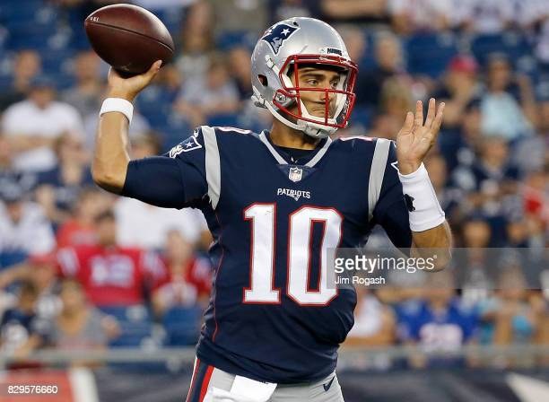 Jimmy Garoppolo of the New England Patriots prepares to throw against the Jacksonville Jaguars in the first half of a preseason game at Gillette...