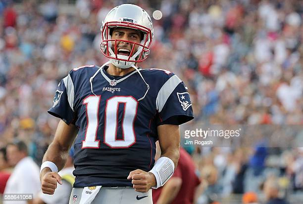 Jimmy Garoppolo of the New England Patriots reacts before a preseason game with the New England Patriots at Gillette Stadium on August 11 2016 in...