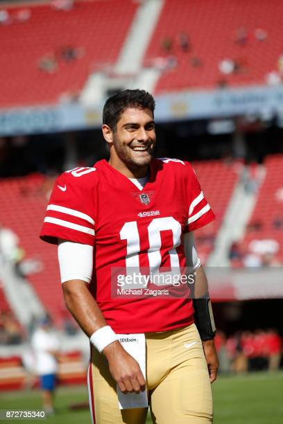 Jimmy Garoppolo of the San Francisco 49ers stands on the field prior to the game against the Arizona Cardinals at Levi's Stadium on November 5 2017...