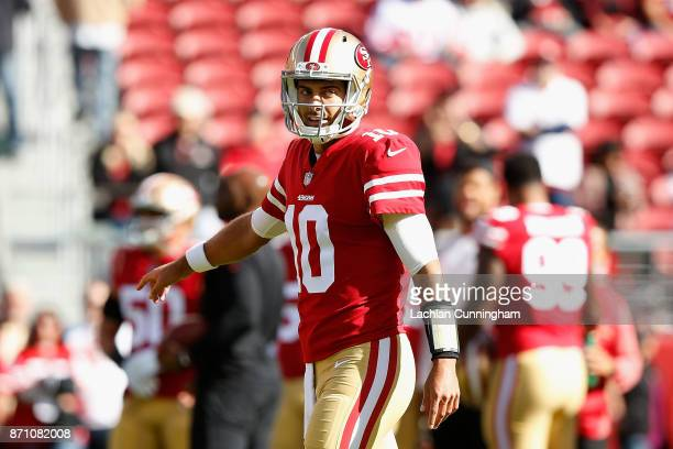 Jimmy Garoppolo of the San Francisco 49ers warms up before the game against the Arizona Cardinals at Levi's Stadium on November 5 2017 in Santa Clara...